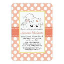 Coral Polka Dot Lamb Baby Shower