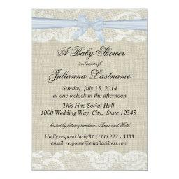 Country Lace and Burlap with Baby Blue Bow Shower