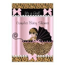 Couples Baby Shower Cute Girl Pink Leopard