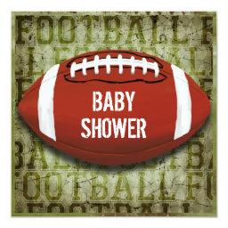 Couples Football Baby Shower Green Grunge