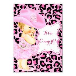 Cowgirl Cute Baby Shower Pink Leopard Girl Blonde