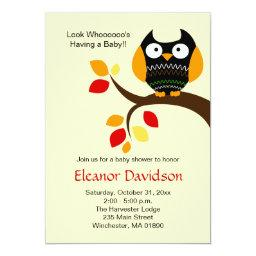Cream Halloween Owl Autumn  Invite