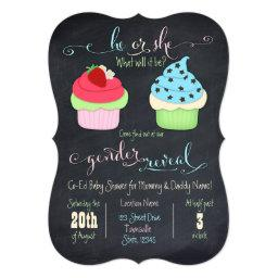 Cupcake gender reveal shower invite