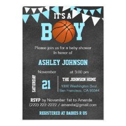 Custom Blue Boy Basketball Baby Shower
