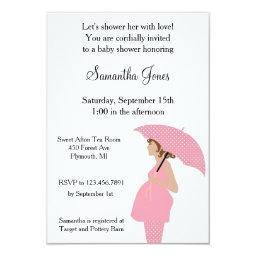 Custom Mommy with Umbrella Pink  Invite