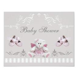 Cute Angel Teddy & Ballet Shoes Baby Shower
