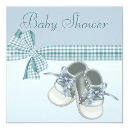 Cute Baby Boy Shower Blue Shoes & Elegant Ribbon