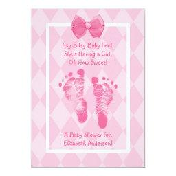 Cute Baby Girl Footprints  Pink Ribbon