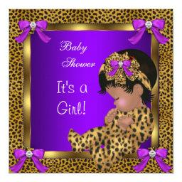 Cute Baby Shower Baby Girl Leopard Purple Gold 2