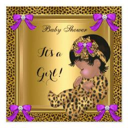 Cute Baby Shower Baby Girl Leopard Purple Gold 4