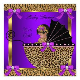 Cute Baby Shower Baby Girl Leopard Purple Pink