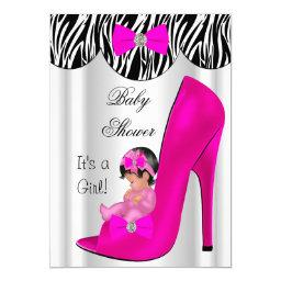 Cute Baby Shower Girl Hot Pink Baby in Shoe