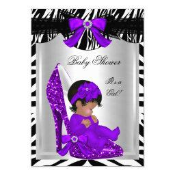 Cute Baby Shower Girl Zebra Purple Baby Shoe 2