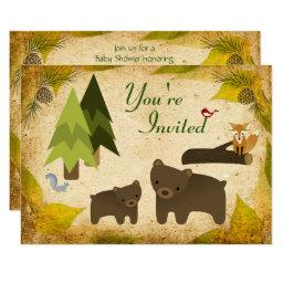 Cute Bears and Woodland Animals  Invite