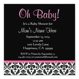 Cute Black White Feather Pink Damask Baby Shower