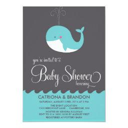Cute Blue Baby Whale  Invite