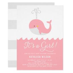 Cute Blue Baby Whale It's a Girl Baby Shower