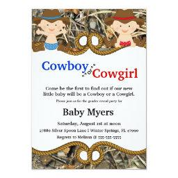 Cute Blue & Red Camo Country Gender Reveal Invite