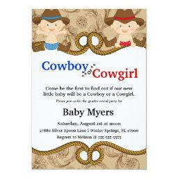 Cute Blue & Red Country Gender Reveal Invite