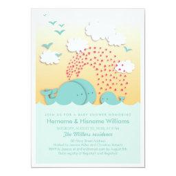 Cute Blue Whales Couples Baby Shower Invite