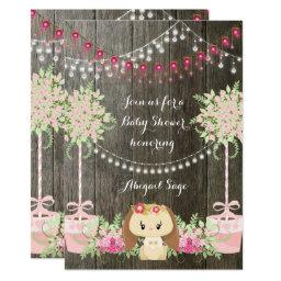 Cute Bunny and Flowers Rustic  Invite