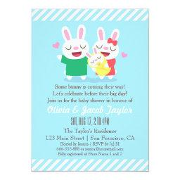 Cute Bunny Couple and Baby Shower