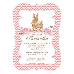 Cute Bunny Rabbit Girl Baby Shower
