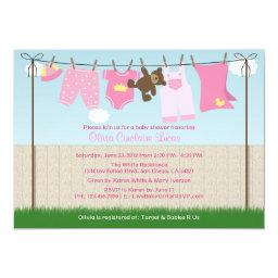Cute Clothesline Baby Girl Modern Baby Shower