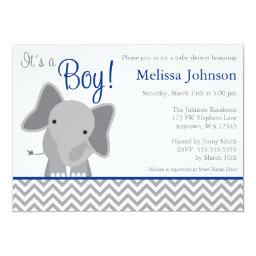 Cute Elephant Chevron Navy Blue