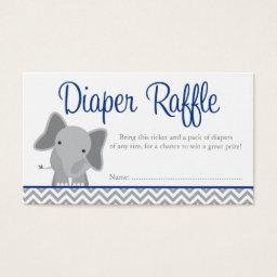 Cute Elephant Chevron Navy Diaper Raffle Ticket