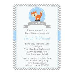 Cute Fox Baby Shower  in Blue and Gray