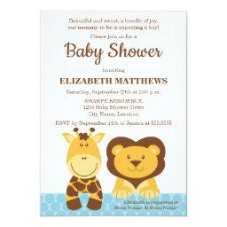 Cute Giraffe and Lion Baby Shower