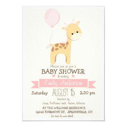 Cute Girl Giraffe, Jungle Zoo Animal Baby Shower