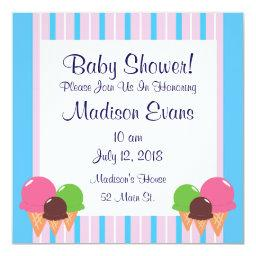 Cute Ice Cream Cone Baby Shower