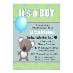 Cute Koala Bear Baby Boy Shower