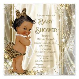 Cute Leopard Girly Ethnic Baby Girl Shower