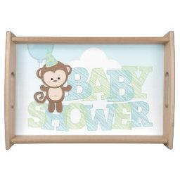 Cute Monkey; Blue & Green Baby Shower Serving Tray