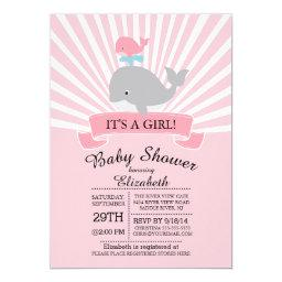 Cute Nautical Whale Girl Baby Shower