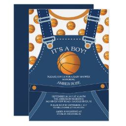 Cute Overalls BASKETBALL Baby Shower