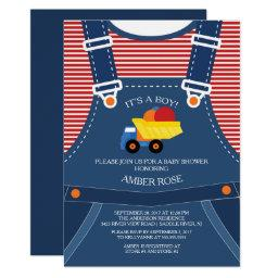 Cute Overalls Toy Truck Baby Shower