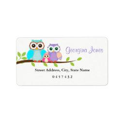Cute Owl Family Girl  Address Labels