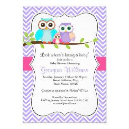 Cute Owl Girl Baby Shower  Pink & Purple