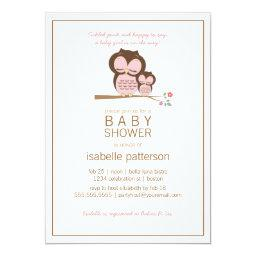 Cute Owl & Mama It's a Girl Baby Shower