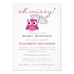 Cute Owl with Parasol Baby Shower