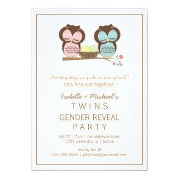 Cute Owls Twin Baby Gender Reveal Party