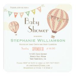 Cute Pastel Bunting & Hot Air Balloons Baby Shower