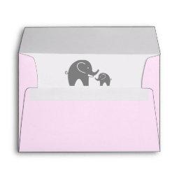 Cute pink  envelopes with grey elephant