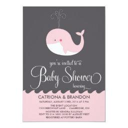 Cute Pink Baby Whale Baby Shower