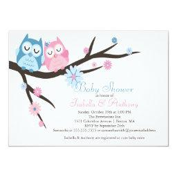 Cute Pink & Blue in Love Owl Couple Baby Shower