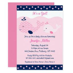 Cute Pink & Navy Whale Baby Shower